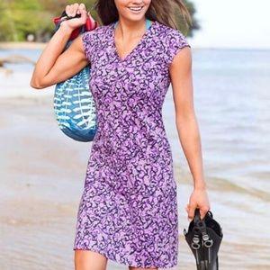 Athleta purple vine scroll Nectar faux wrap dress